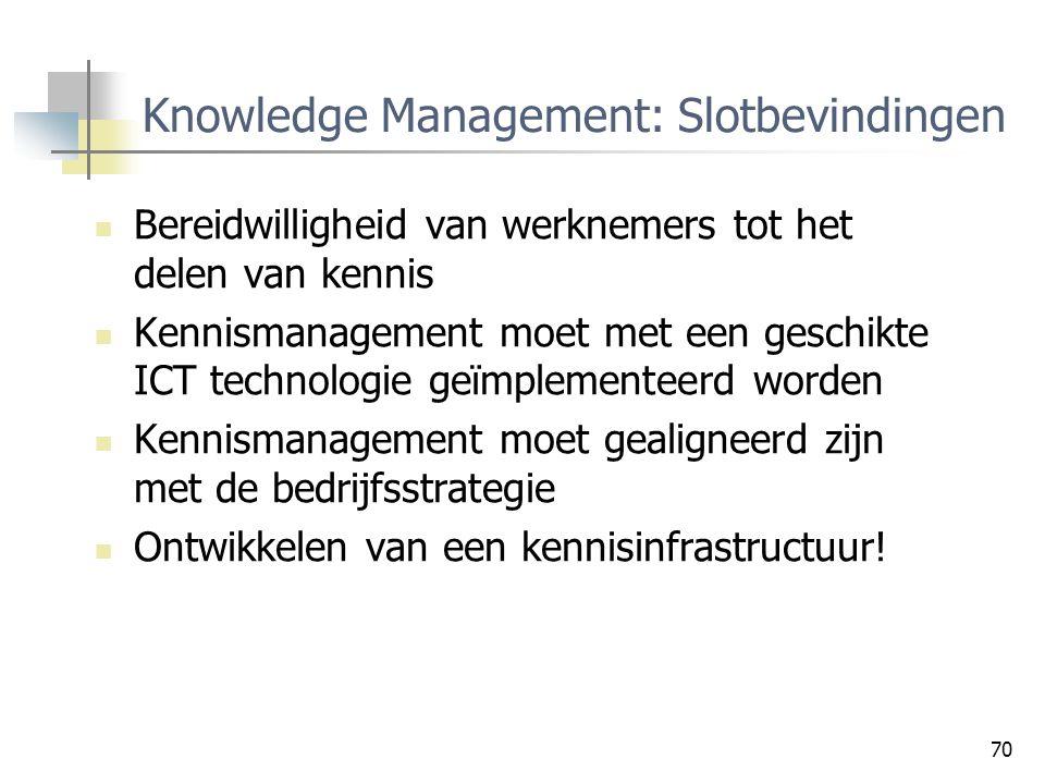 70 Knowledge Management: Slotbevindingen Bereidwilligheid van werknemers tot het delen van kennis Kennismanagement moet met een geschikte ICT technolo