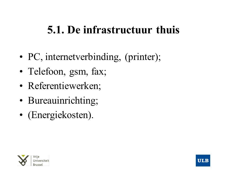 5.1. De infrastructuur thuis PC, internetverbinding, (printer); Telefoon, gsm, fax; Referentiewerken; Bureauinrichting; (Energiekosten).