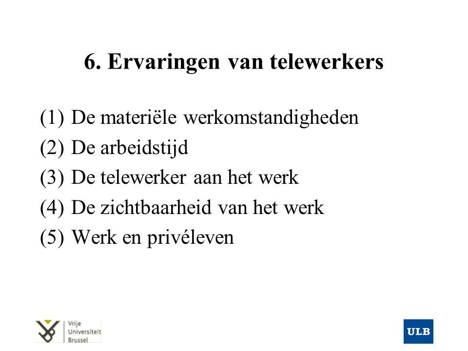 6. Ervaringen van telewerkers (1)De materiële werkomstandigheden (2)De arbeidstijd (3)De telewerker aan het werk (4)De zichtbaarheid van het werk (5)W