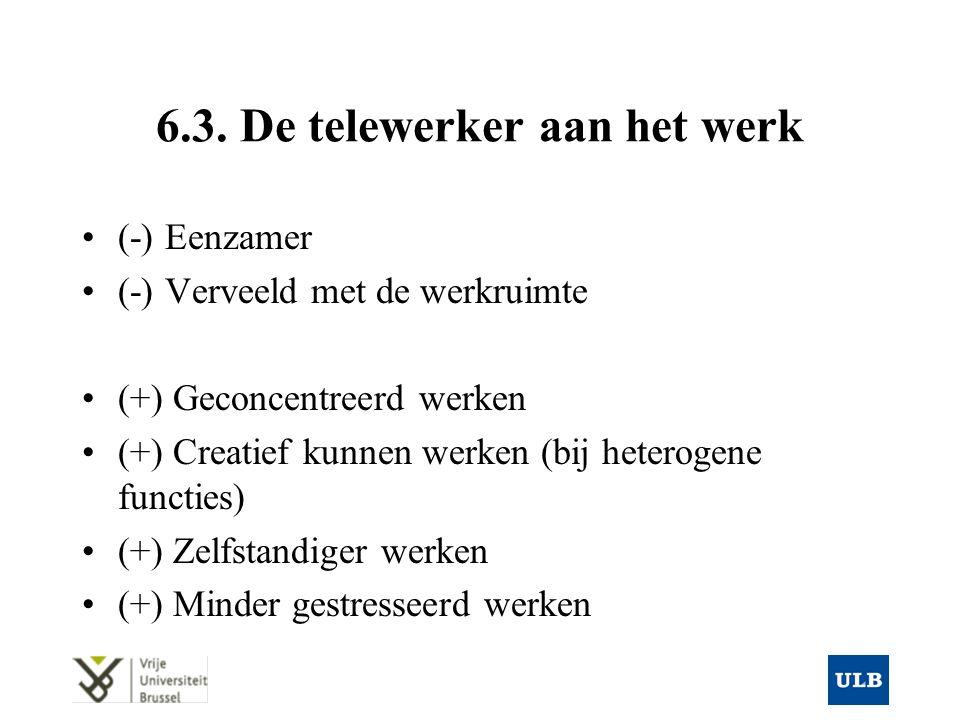 6.3. De telewerker aan het werk (-) Eenzamer (-) Verveeld met de werkruimte (+) Geconcentreerd werken (+) Creatief kunnen werken (bij heterogene funct