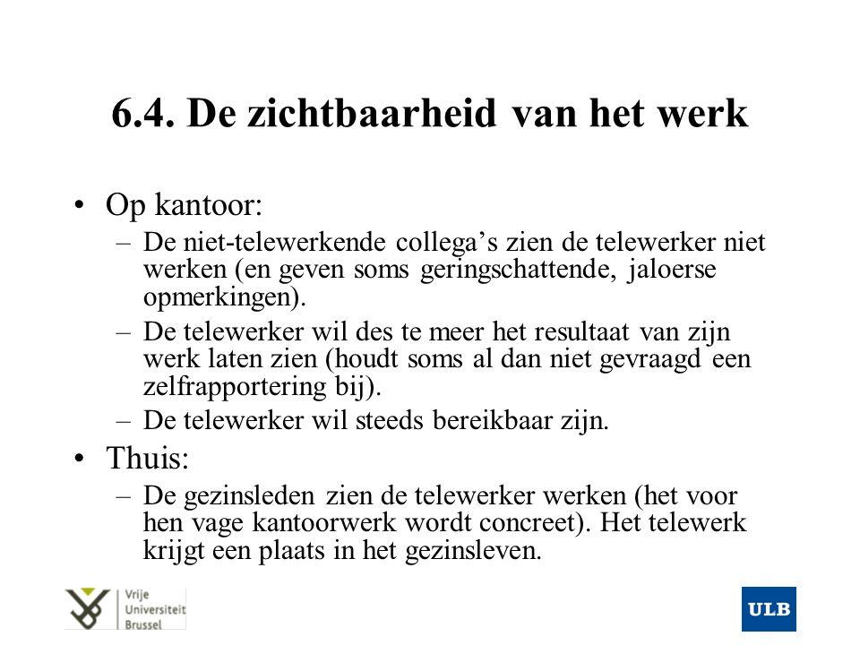 6.4. De zichtbaarheid van het werk Op kantoor: –De niet-telewerkende collega's zien de telewerker niet werken (en geven soms geringschattende, jaloers