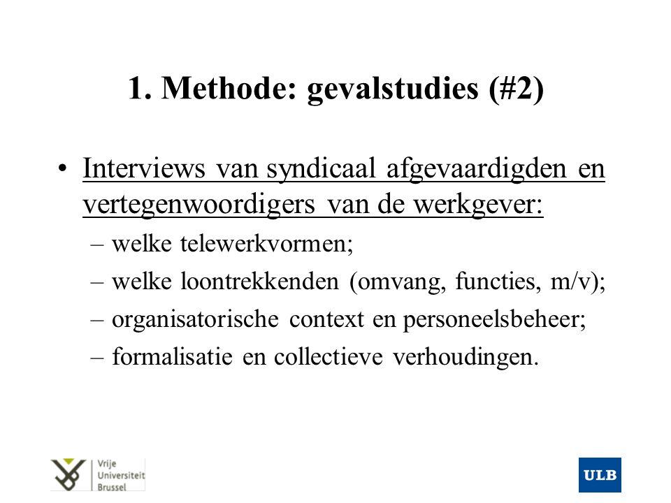 1. Methode: gevalstudies (#2) Interviews van syndicaal afgevaardigden en vertegenwoordigers van de werkgever: –welke telewerkvormen; –welke loontrekke