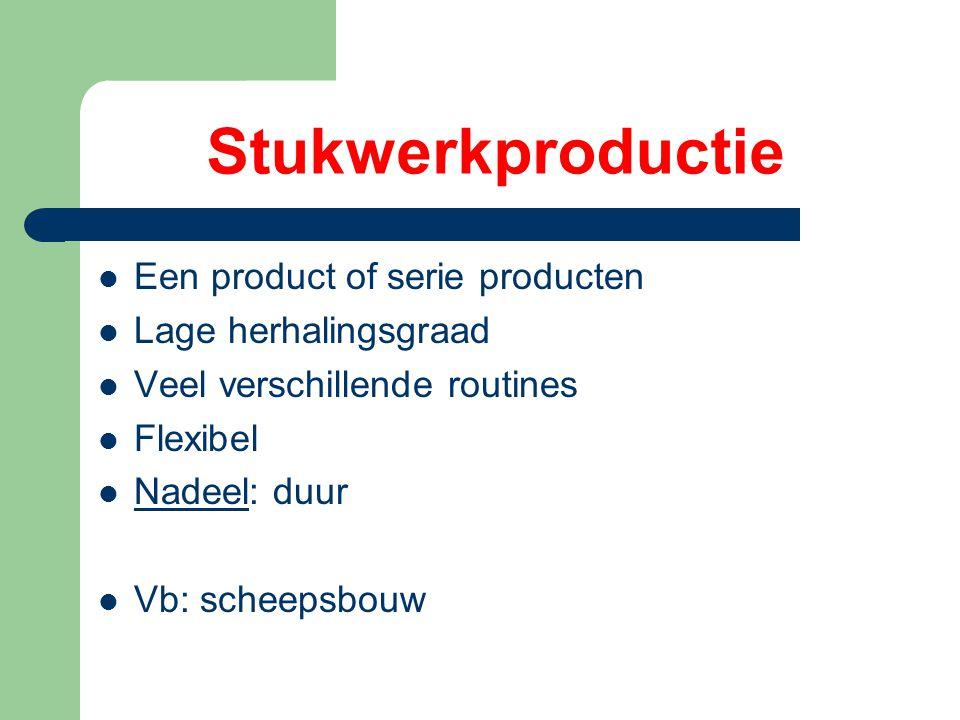 Stukwerkproductie Een product of serie producten Lage herhalingsgraad Veel verschillende routines Flexibel Nadeel: duur Vb: scheepsbouw