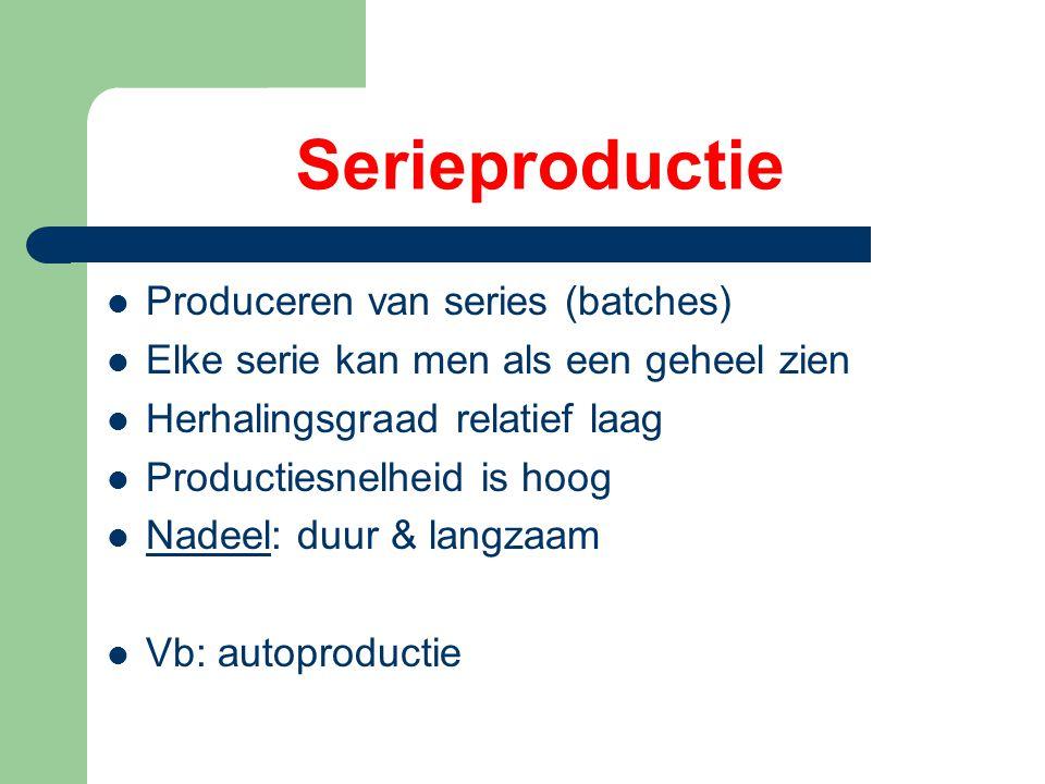 Serieproductie Produceren van series (batches) Elke serie kan men als een geheel zien Herhalingsgraad relatief laag Productiesnelheid is hoog Nadeel: duur & langzaam Vb: autoproductie