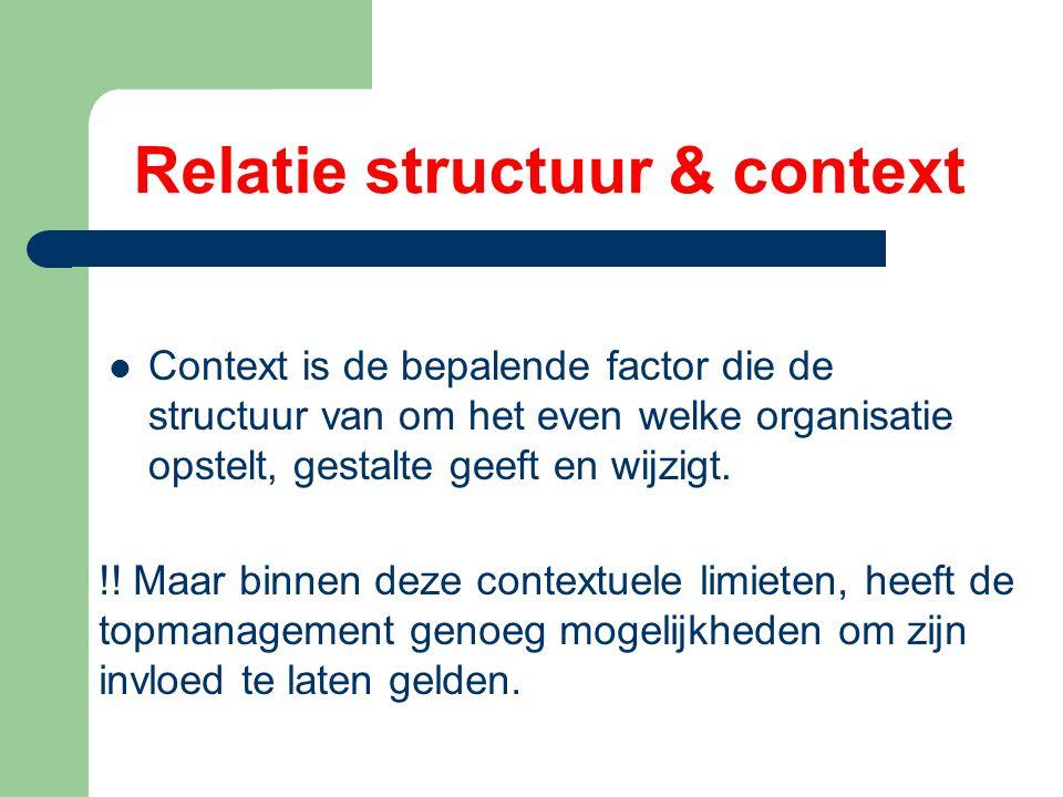 Relatie structuur & context Context is de bepalende factor die de structuur van om het even welke organisatie opstelt, gestalte geeft en wijzigt.