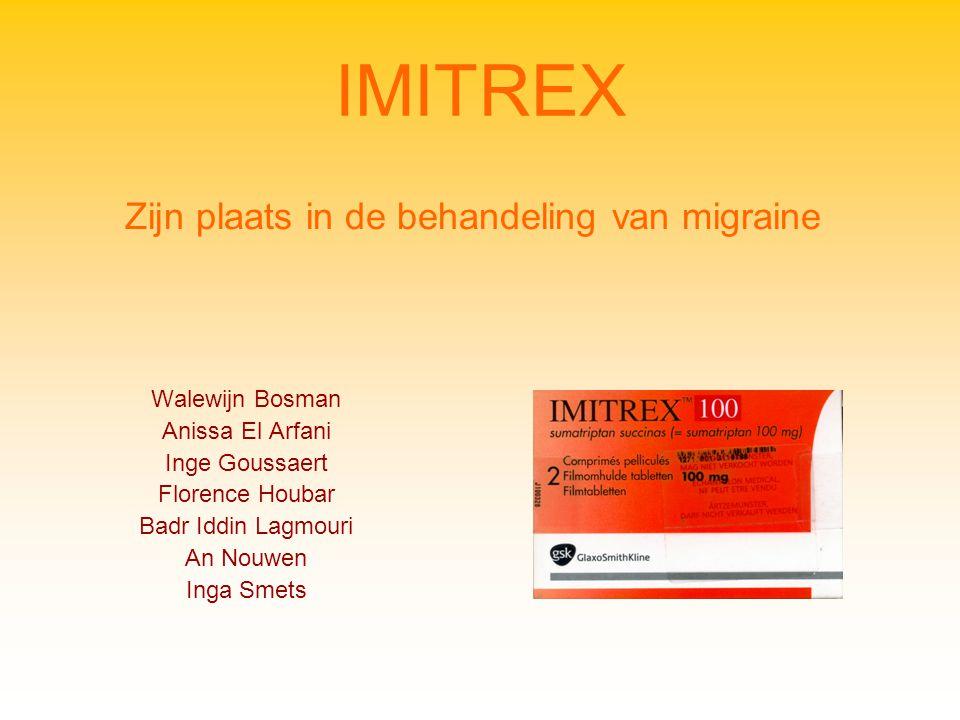 IMITREX Walewijn Bosman Anissa El Arfani Inge Goussaert Florence Houbar Badr Iddin Lagmouri An Nouwen Inga Smets Zijn plaats in de behandeling van migraine