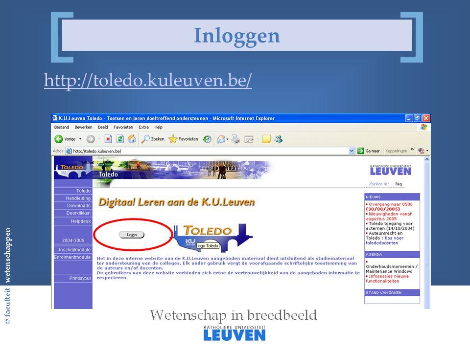 @ faculteit wetenschappen Inloggen http://toledo.kuleuven.be/