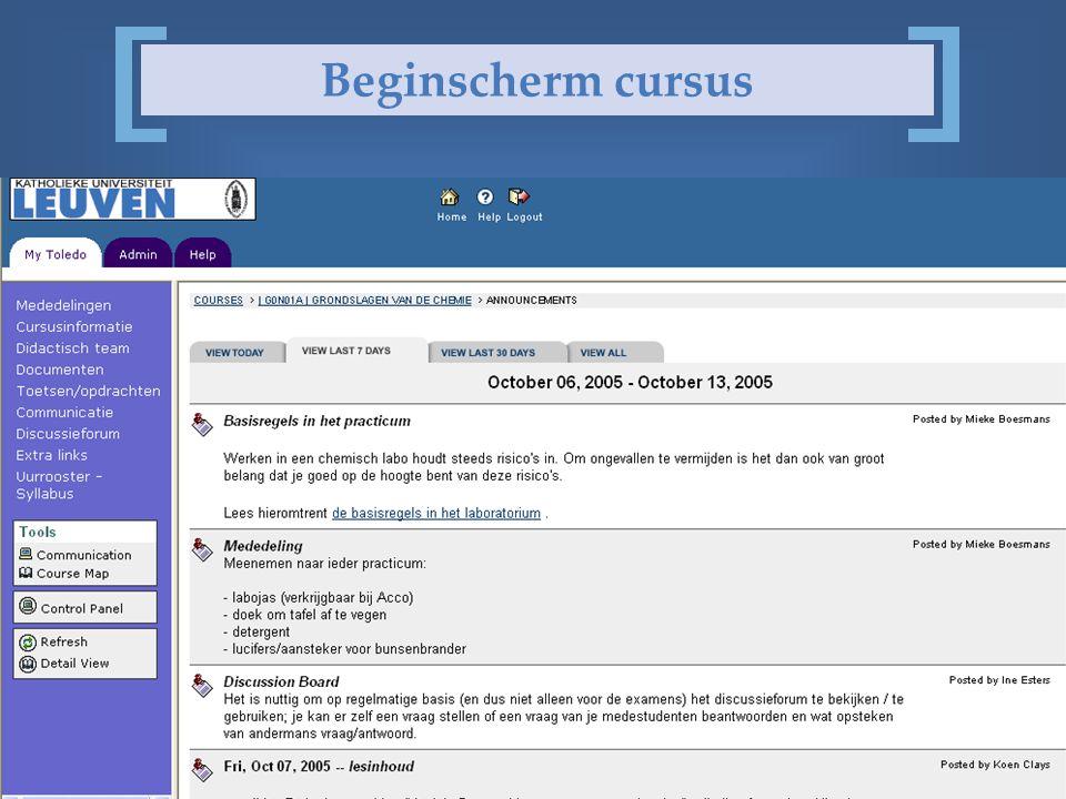 @ faculteit wetenschappen Beginscherm cursus