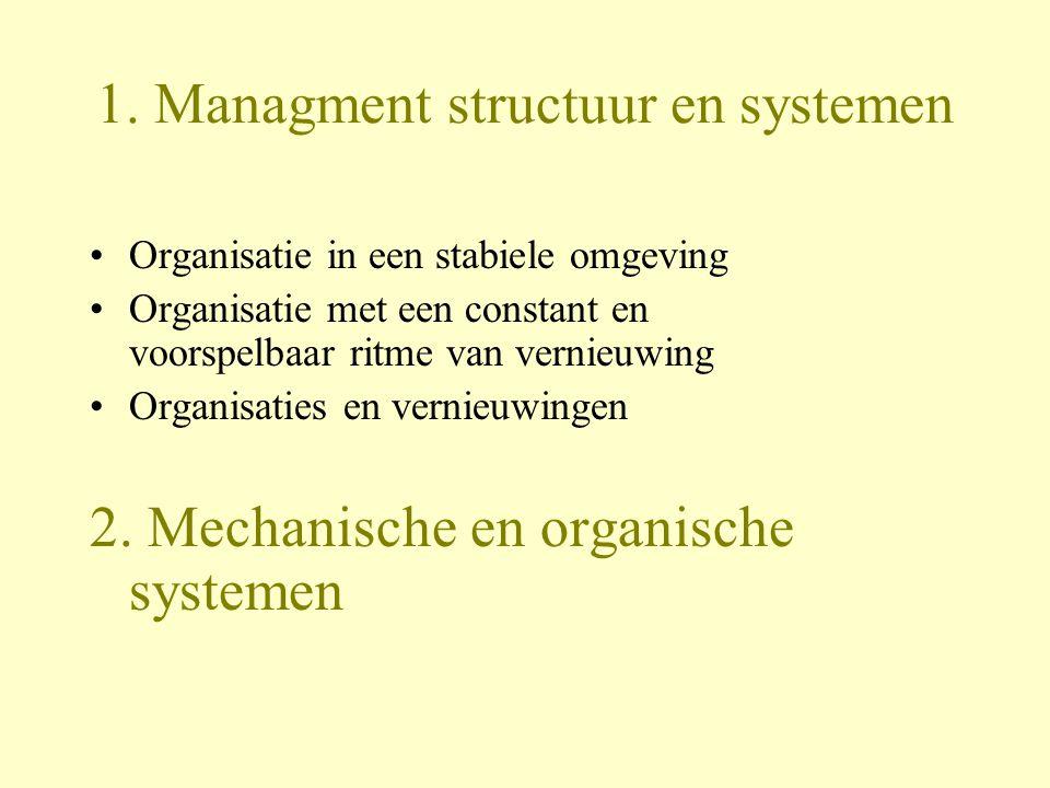 1. Managment structuur en systemen Organisatie in een stabiele omgeving Organisatie met een constant en voorspelbaar ritme van vernieuwing Organisatie