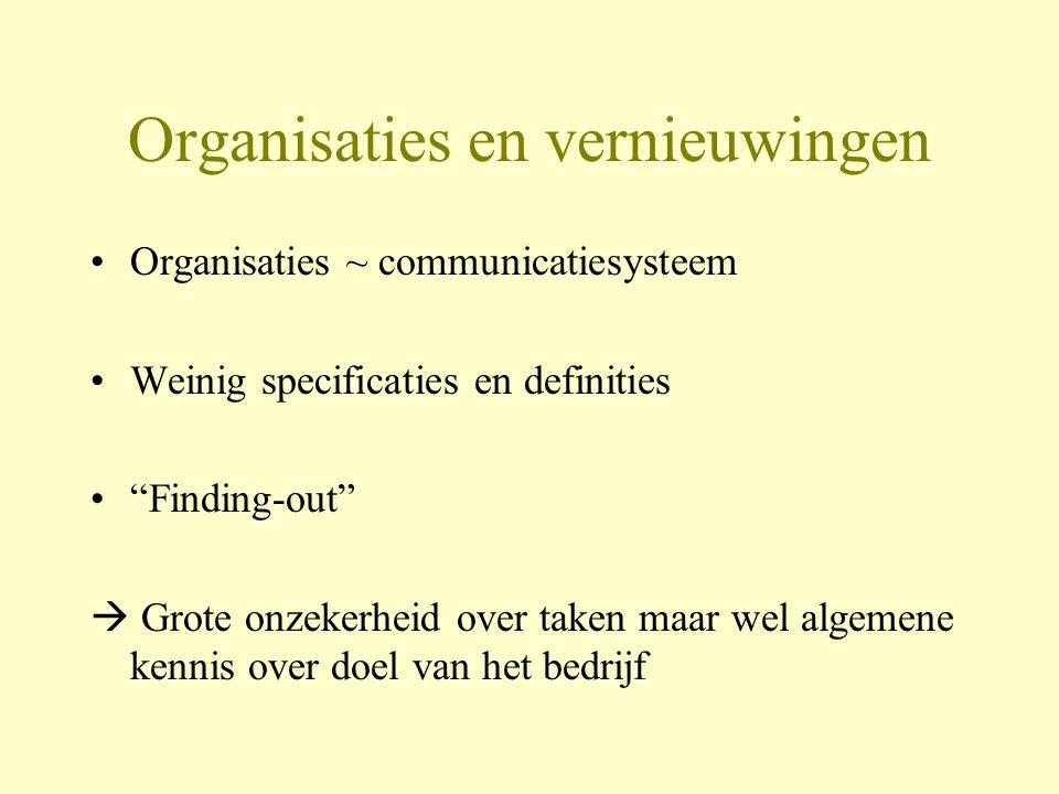 Organisaties en vernieuwingen Organisaties ~ communicatiesysteem Weinig specificaties en definities Finding-out  Grote onzekerheid over taken maar wel algemene kennis over doel van het bedrijf