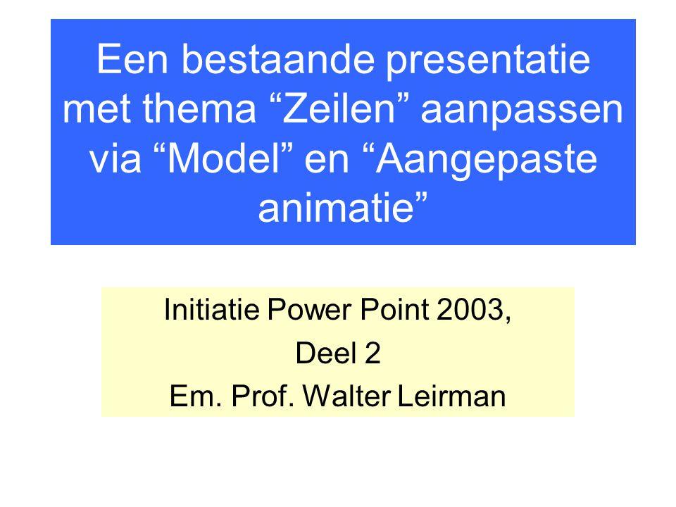 """Een bestaande presentatie met thema """"Zeilen"""" aanpassen via """"Model"""" en """"Aangepaste animatie"""" Initiatie Power Point 2003, Deel 2 Em. Prof. Walter Leirma"""