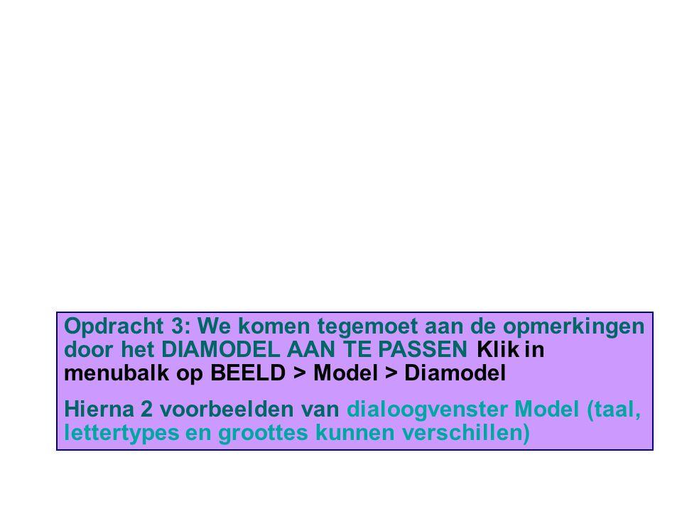 Opdracht 3: We komen tegemoet aan de opmerkingen door het DIAMODEL AAN TE PASSEN Klik in menubalk op BEELD > Model > Diamodel Hierna 2 voorbeelden van dialoogvenster Model (taal, lettertypes en groottes kunnen verschillen)