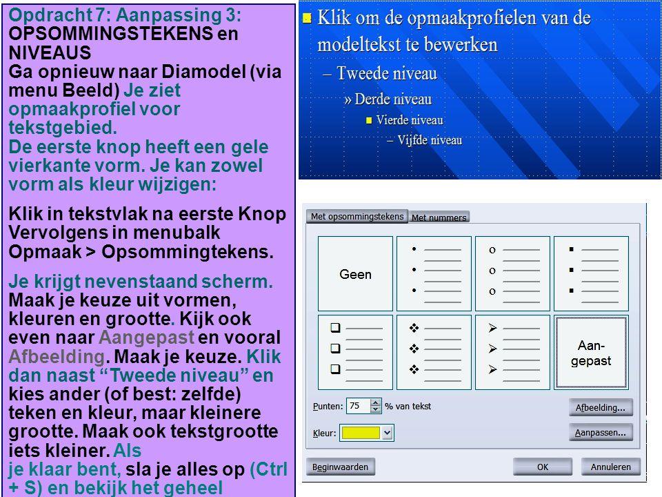Opdracht 7: Aanpassing 3: OPSOMMINGSTEKENS en NIVEAUS Ga opnieuw naar Diamodel (via menu Beeld) Je ziet opmaakprofiel voor tekstgebied. De eerste knop