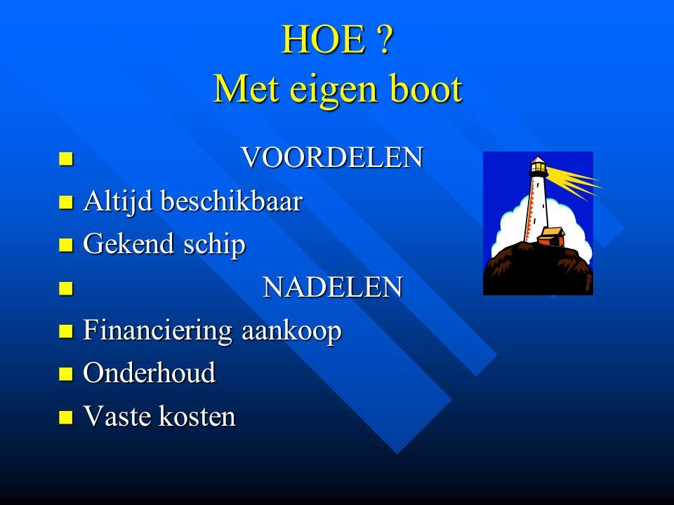 HOE ? Met eigen boot VOORDELEN VOORDELEN Altijd beschikbaar Altijd beschikbaar Gekend schip Gekend schip NADELEN NADELEN Financiering aankoop Financie