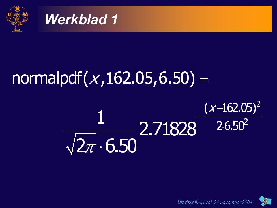 Uitwiskeling live! 20 november 2004 Werkblad 1