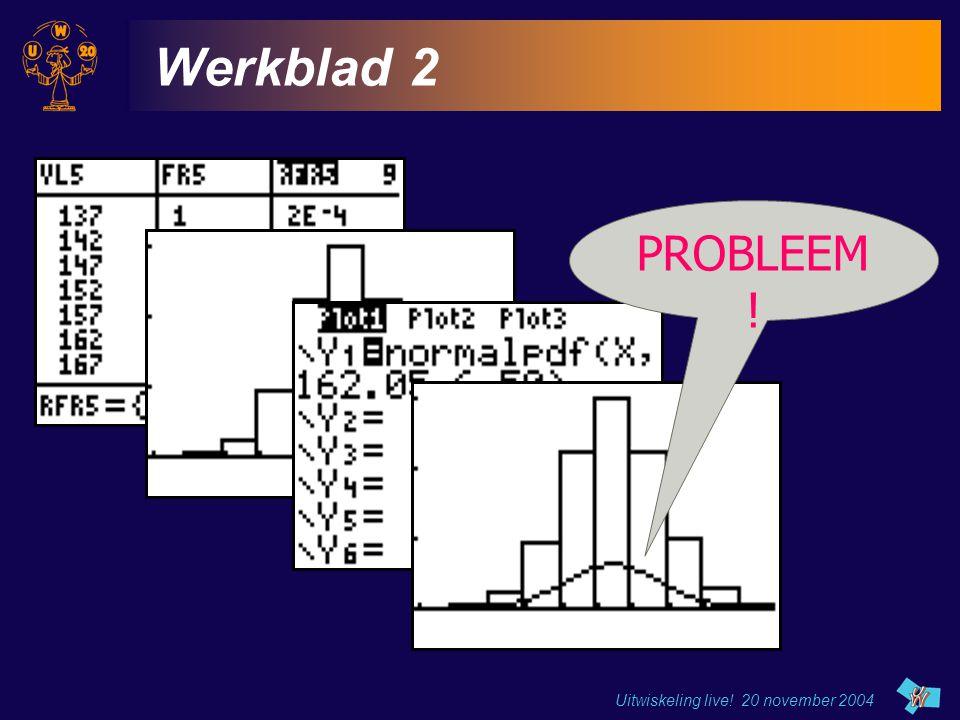 Uitwiskeling live! 20 november 2004 Werkblad 2 PROBLEEM !
