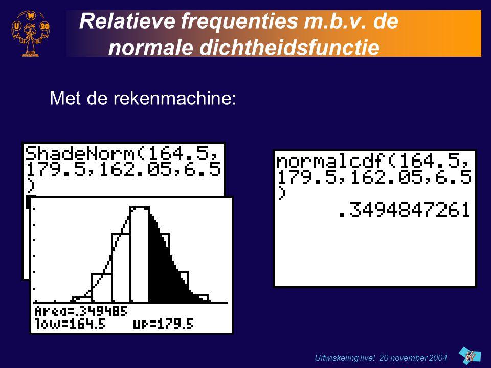 Uitwiskeling live! 20 november 2004 Relatieve frequenties m.b.v. de normale dichtheidsfunctie Met de rekenmachine: