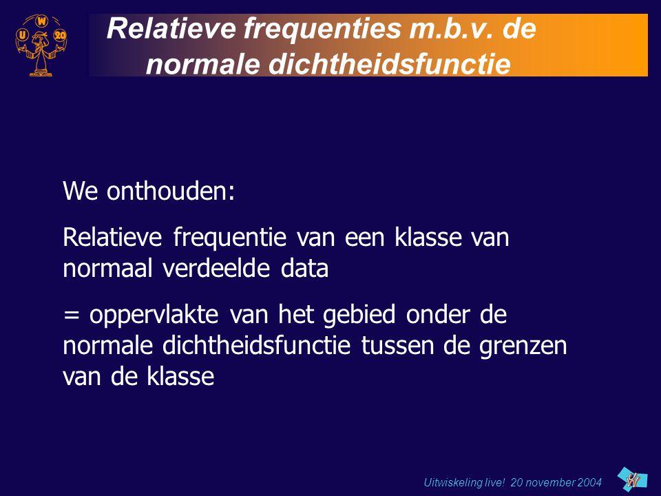 Uitwiskeling live! 20 november 2004 Relatieve frequenties m.b.v. de normale dichtheidsfunctie We onthouden: Relatieve frequentie van een klasse van no