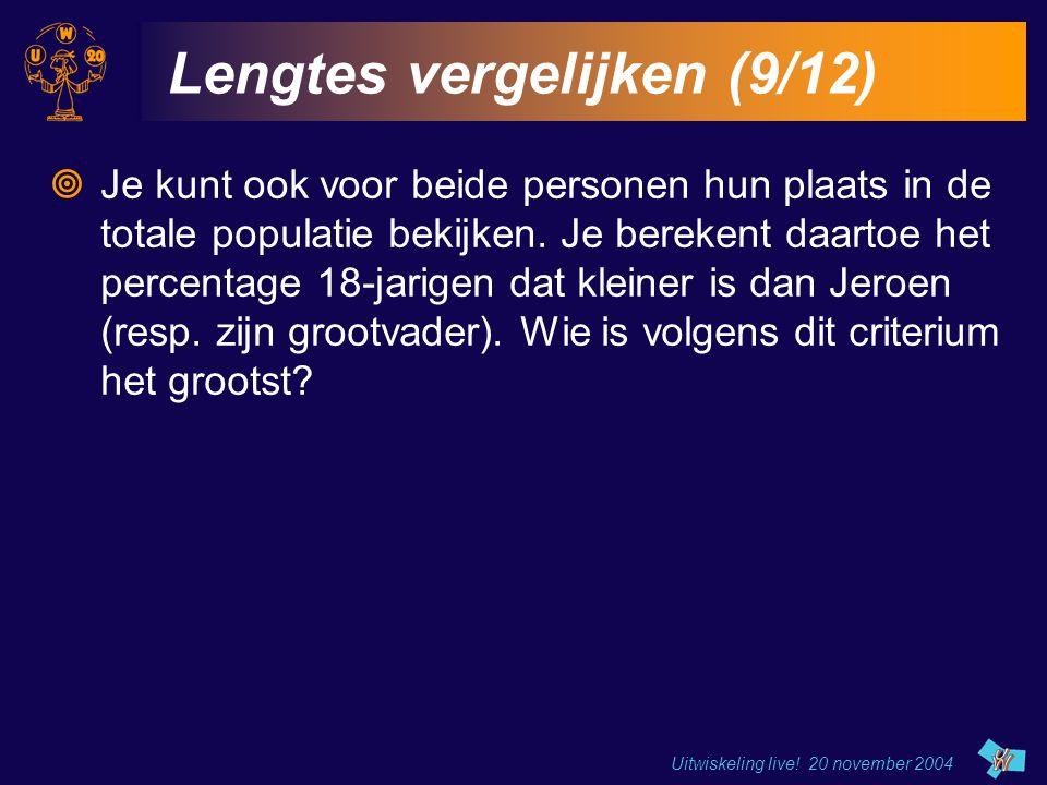 Uitwiskeling live! 20 november 2004 Lengtes vergelijken (9/12)  Je kunt ook voor beide personen hun plaats in de totale populatie bekijken. Je bereke