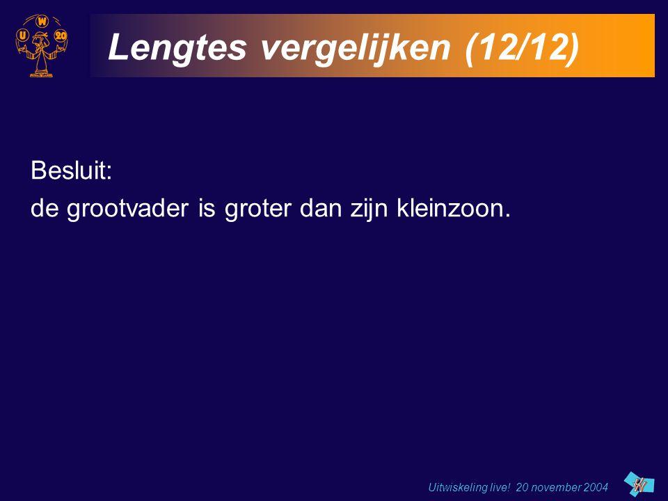 Uitwiskeling live! 20 november 2004 Lengtes vergelijken (12/12) Besluit: de grootvader is groter dan zijn kleinzoon.