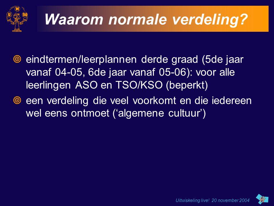 Uitwiskeling live! 20 november 2004 Waarom normale verdeling?  eindtermen/leerplannen derde graad (5de jaar vanaf 04-05, 6de jaar vanaf 05-06): voor