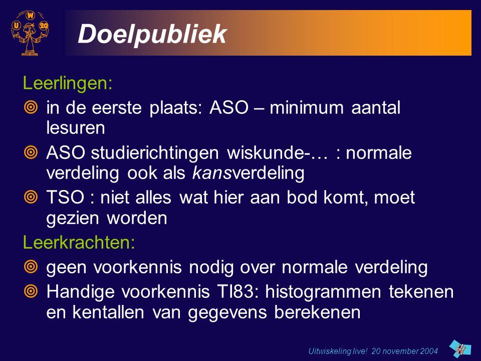 Uitwiskeling live! 20 november 2004 Doelpubliek Leerlingen:  in de eerste plaats: ASO – minimum aantal lesuren  ASO studierichtingen wiskunde-… : no