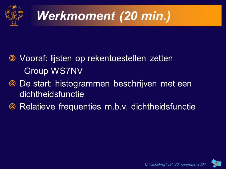 Uitwiskeling live! 20 november 2004 Werkmoment (20 min.)  Vooraf: lijsten op rekentoestellen zetten Group WS7NV  De start: histogrammen beschrijven