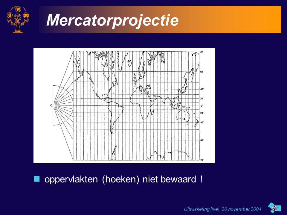 Uitwiskeling live! 20 november 2004 Mercatorprojectie oppervlakten (hoeken) niet bewaard !