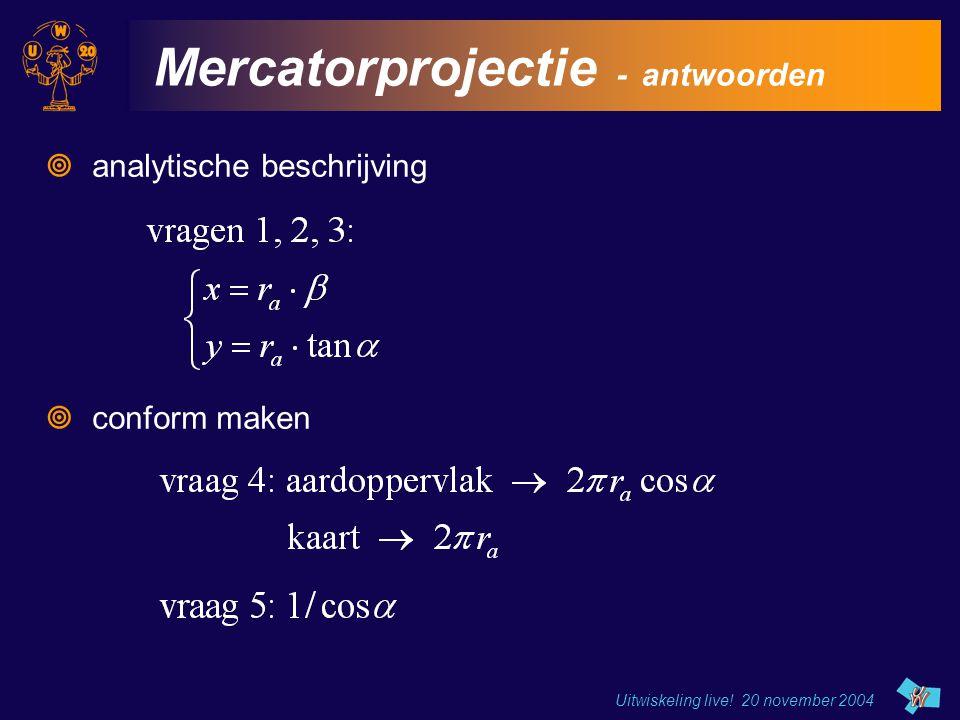 Uitwiskeling live! 20 november 2004 Mercatorprojectie - antwoorden  analytische beschrijving  conform maken