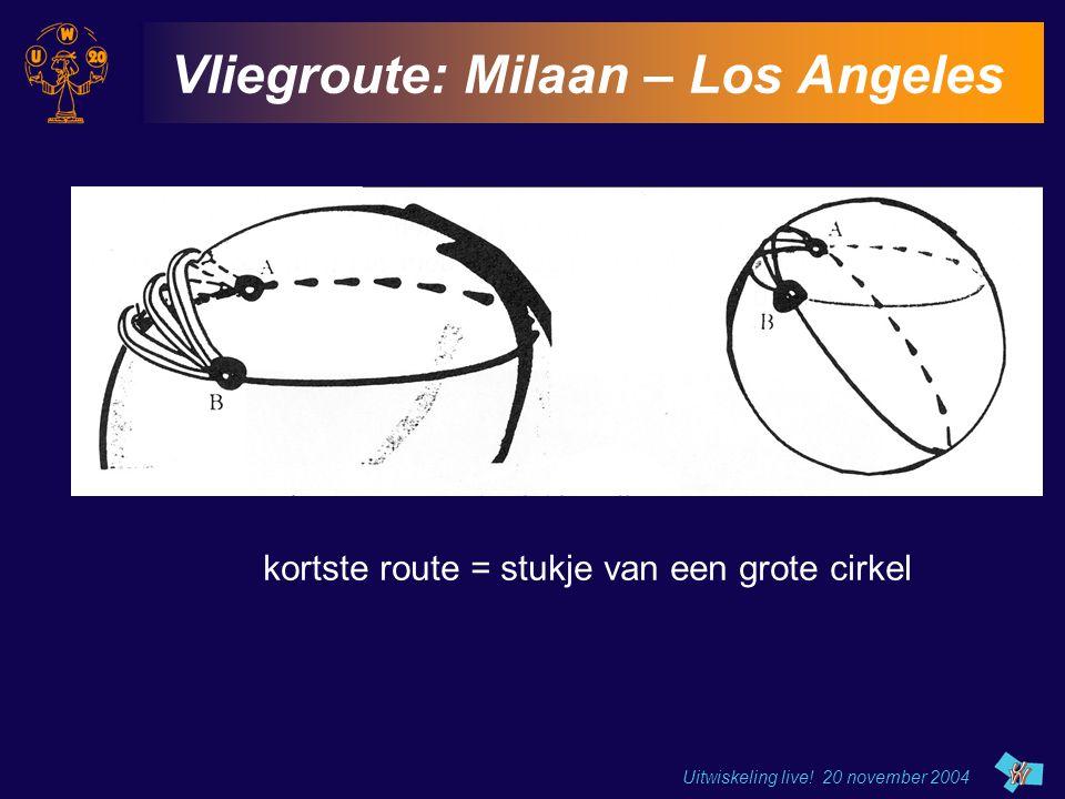 Uitwiskeling live! 20 november 2004 Vliegroute: Milaan – Los Angeles kortste route = stukje van een grote cirkel