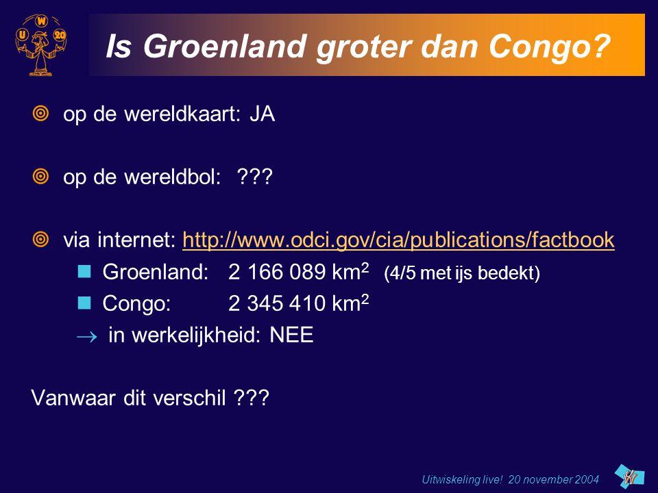 Uitwiskeling live! 20 november 2004 Is Groenland groter dan Congo?  op de wereldkaart: JA  op de wereldbol: ???  via internet: http://www.odci.gov/