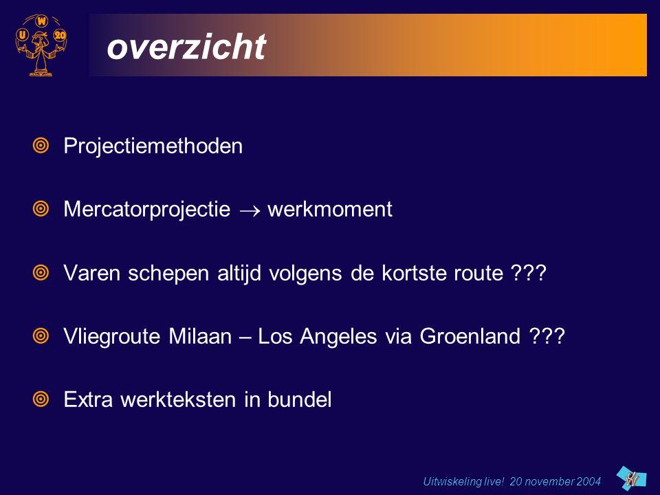 Uitwiskeling live! 20 november 2004 overzicht  Projectiemethoden  Mercatorprojectie  werkmoment  Varen schepen altijd volgens de kortste route ???
