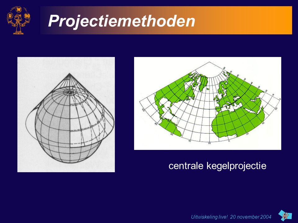 Uitwiskeling live! 20 november 2004 Projectiemethoden centrale kegelprojectie