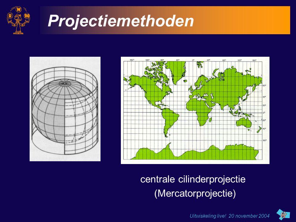 Uitwiskeling live! 20 november 2004 Projectiemethoden centrale cilinderprojectie (Mercatorprojectie)