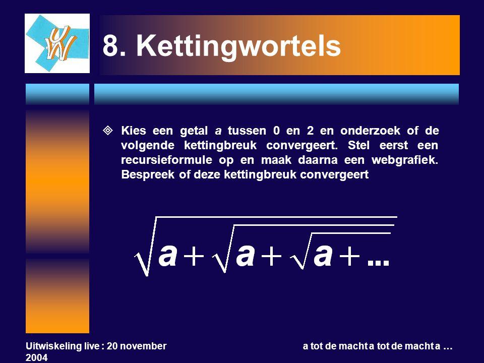 Uitwiskeling live : 20 november 2004 a tot de macht a tot de macht a … 8.Kettingwortels  Kies een getal a tussen 0 en 2 en onderzoek of de volgende k