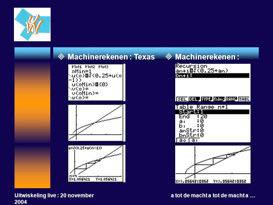 Uitwiskeling live : 20 november 2004 a tot de macht a tot de macht a …  Machinerekenen : Texas  Machinerekenen : Casio