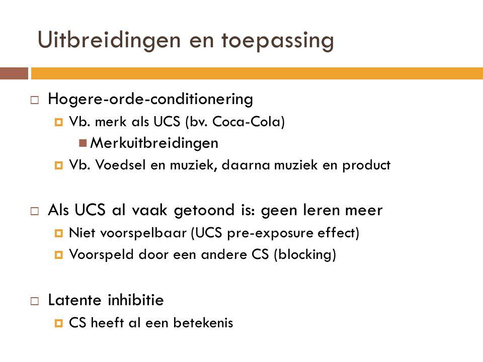 Uitbreidingen en toepassing  Hogere-orde-conditionering  Vb. merk als UCS (bv. Coca-Cola) Merkuitbreidingen  Vb. Voedsel en muziek, daarna muziek e