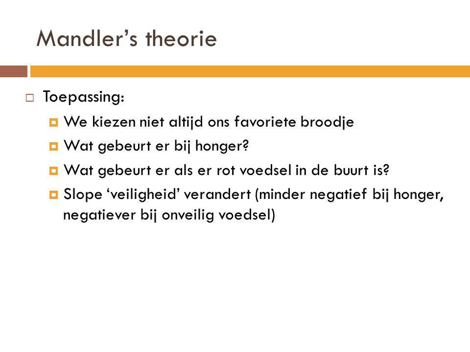 Mandler's theorie  Toepassing:  We kiezen niet altijd ons favoriete broodje  Wat gebeurt er bij honger?  Wat gebeurt er als er rot voedsel in de b