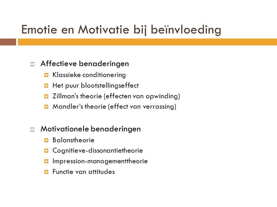 Emotie en Motivatie bij beïnvloeding  Affectieve benaderingen  Klassieke conditionering  Het puur blootstellingseffect  Zillman's theorie (effecte