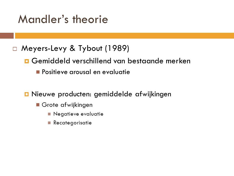 Mandler's theorie  Meyers-Levy & Tybout (1989)  Gemiddeld verschillend van bestaande merken Positieve arousal en evaluatie  Nieuwe producten: gemid