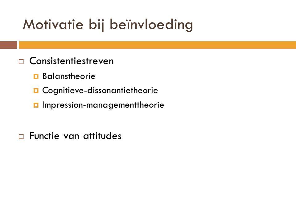 Motivatie bij beïnvloeding  Consistentiestreven  Balanstheorie  Cognitieve-dissonantietheorie  Impression-managementtheorie  Functie van attitude