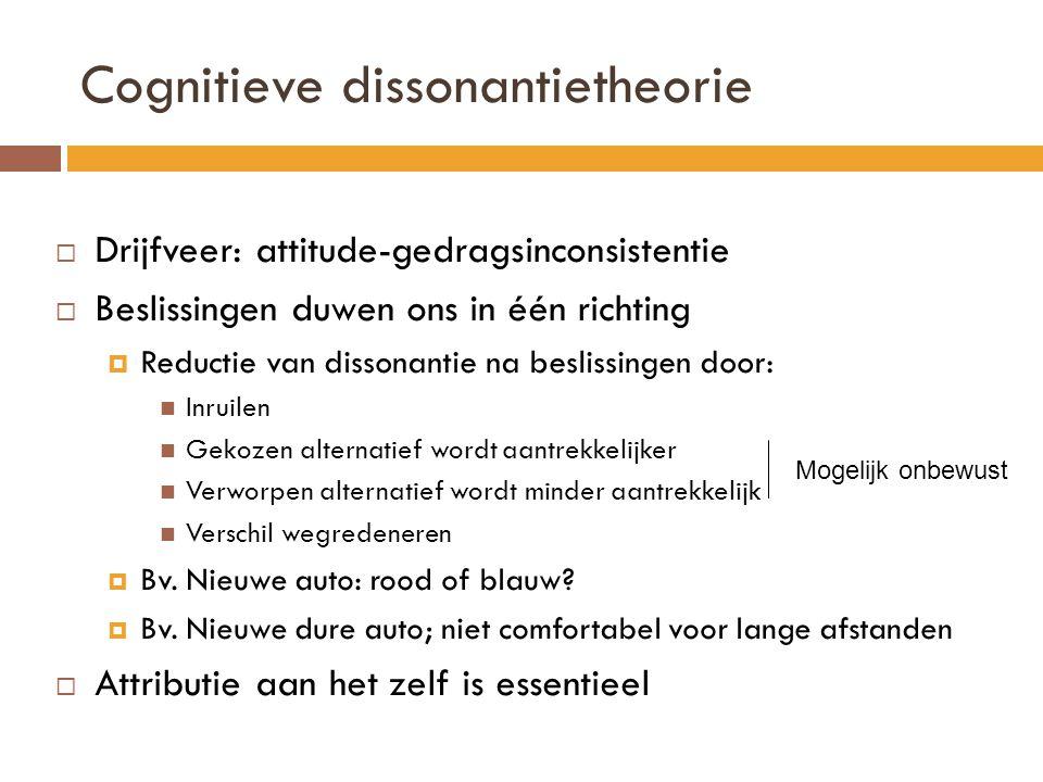  Drijfveer: attitude-gedragsinconsistentie  Beslissingen duwen ons in één richting  Reductie van dissonantie na beslissingen door: Inruilen Gekozen