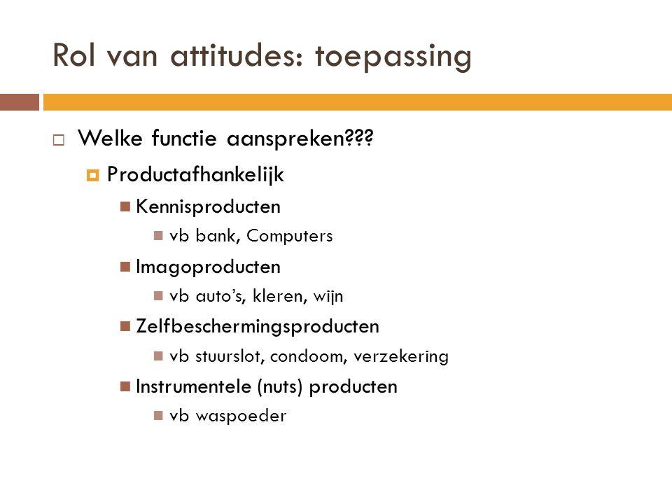 Rol van attitudes: toepassing  Welke functie aanspreken???  Productafhankelijk Kennisproducten vb bank, Computers Imagoproducten vb auto's, kleren,