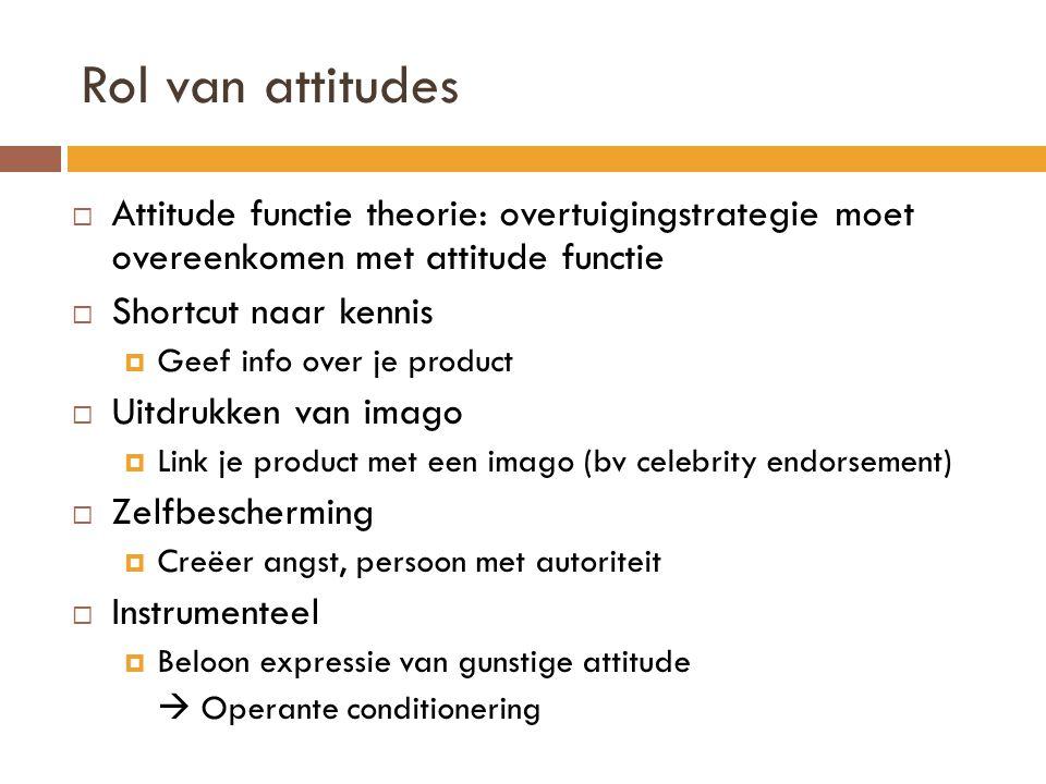 Rol van attitudes  Attitude functie theorie: overtuigingstrategie moet overeenkomen met attitude functie  Shortcut naar kennis  Geef info over je p