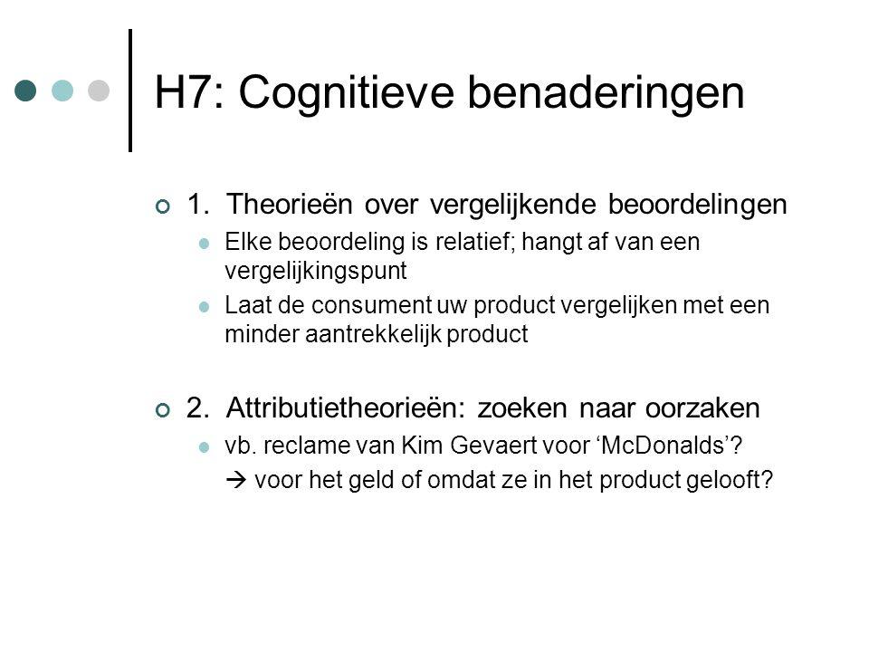 H7: Cognitieve benaderingen 1. Theorieën over vergelijkende beoordelingen Elke beoordeling is relatief; hangt af van een vergelijkingspunt Laat de con