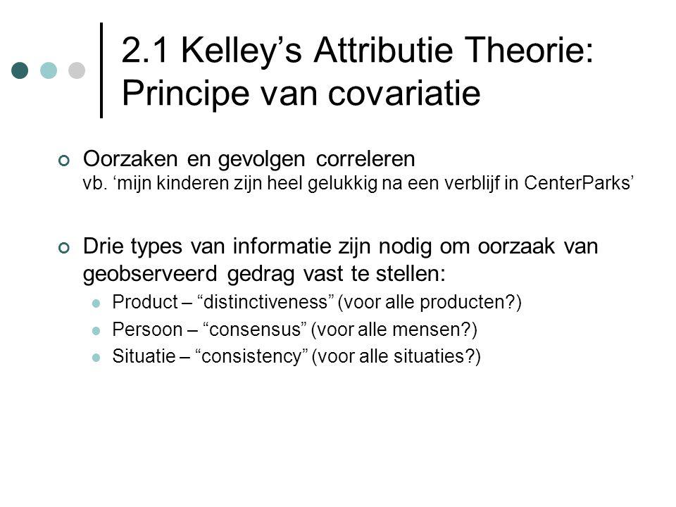 2.1 Kelley's Attributie Theorie: Principe van covariatie Oorzaken en gevolgen correleren vb. 'mijn kinderen zijn heel gelukkig na een verblijf in Cent