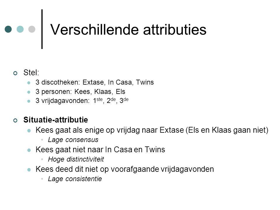 Verschillende attributies Stel: 3 discotheken: Extase, In Casa, Twins 3 personen: Kees, Klaas, Els 3 vrijdagavonden: 1 ste, 2 de, 3 de Situatie-attrib