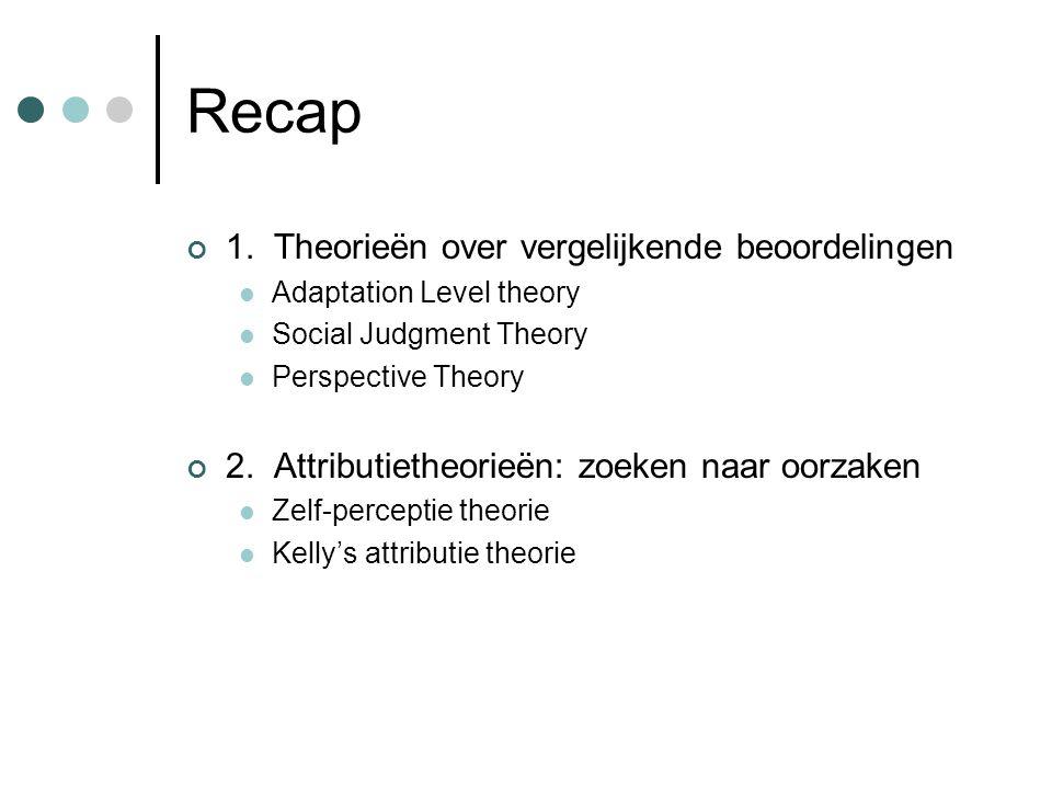 Recap 1. Theorieën over vergelijkende beoordelingen Adaptation Level theory Social Judgment Theory Perspective Theory 2. Attributietheorieën: zoeken n