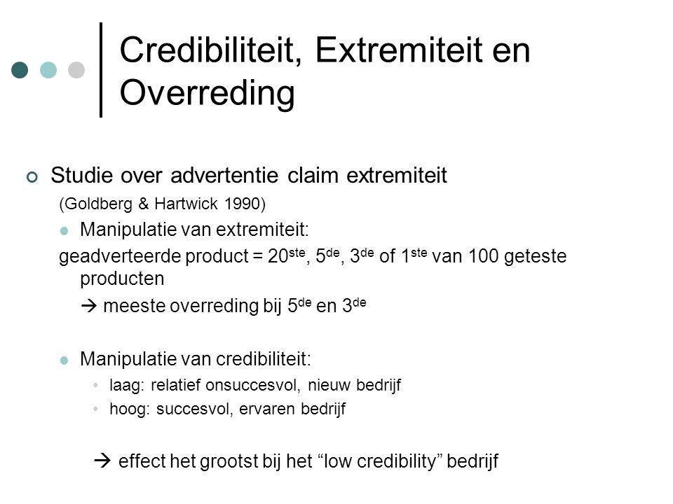 Credibiliteit, Extremiteit en Overreding Studie over advertentie claim extremiteit (Goldberg & Hartwick 1990) Manipulatie van extremiteit: geadverteer