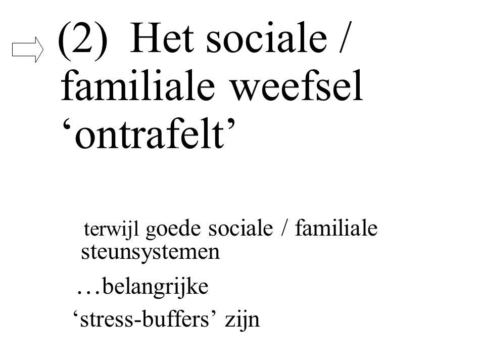 (2) Het sociale / familiale weefsel 'ontrafelt' terwijl g oede sociale / familiale steunsystemen … belangrijke 'stress-buffers' zijn